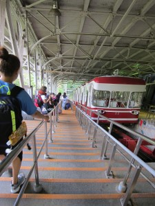 Riding the funicular down from Koyasan