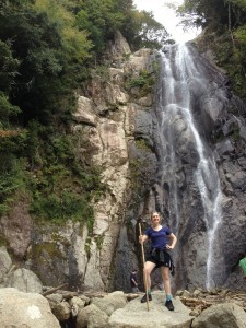 Kayla by the waterfall
